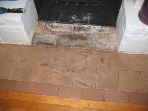 The fireplace, sans several generations of paint