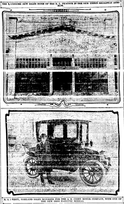 The new Cosby Motor Cars dealership when it opened in 1913. They sold electric cars, among other things; sadly, it's now a surface parking lot....