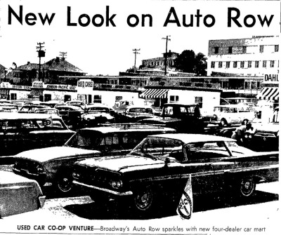 By 1964, both Oakland and Auto Row were in decline. You know it's time to worry when you're excited about the new used car lot that just opened....