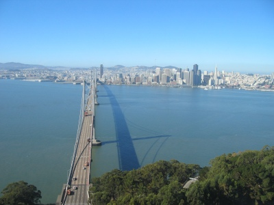 The west span of the bridge, looking towards San Francisco