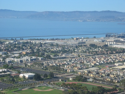 Oakland: Looking west to the estuary from above Laney College