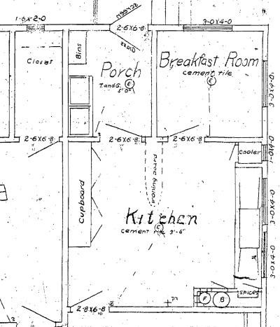1915 blueprints of our kitchen (flipped from our neighbor's copy)
